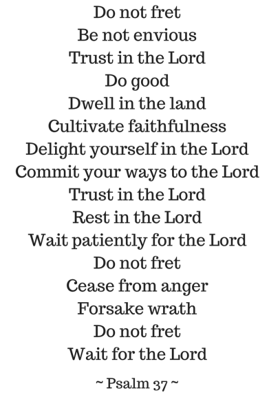 Do not fret Be not enviousTrust in the LordDo goodDwell in the landCultivate faithfulnessDelight yourself in the LordCommit your ways to the LordTrust in the LordRest in the LordWait pat
