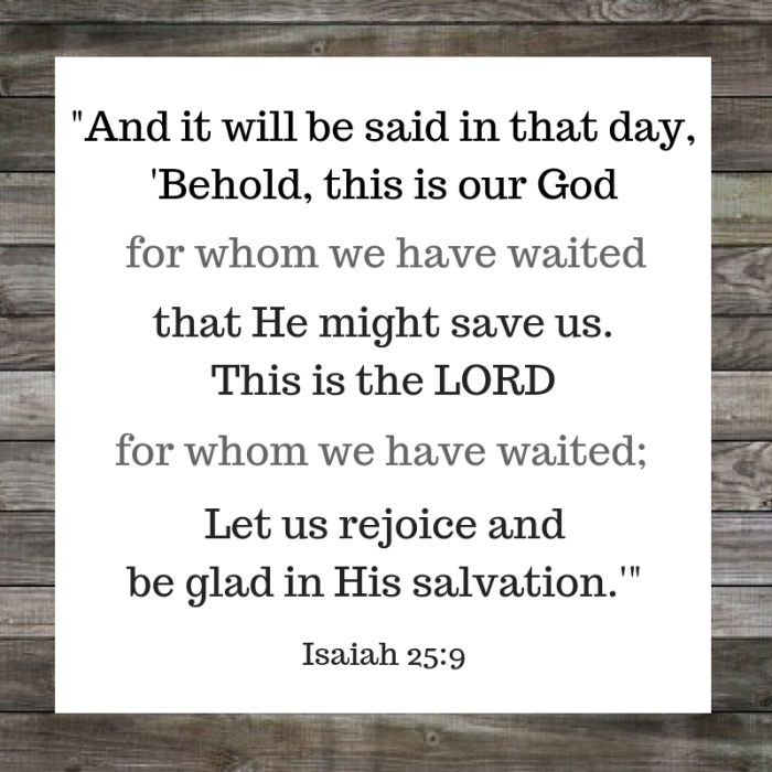 [isa 25_9 nasb] 9 and it will be said in that day, behold, this is our god for whom we have waited that he might save us. this is the lord for whom we have waited; let us